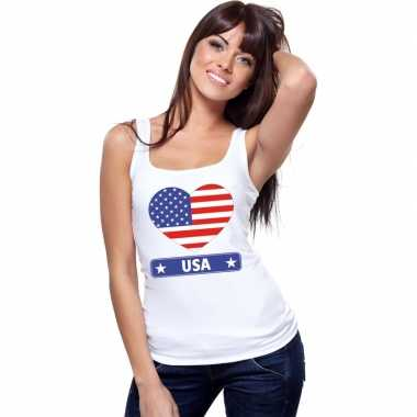 Amerika hart vlag singlet shirt/ t shirt zonder mouw wit dames