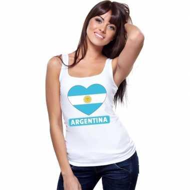 Argentinie hart vlag singlet shirt/ t shirt zonder mouw wit dames