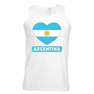 Argentinie hart vlag singlet shirt/ t shirt zonder mouw wit heren