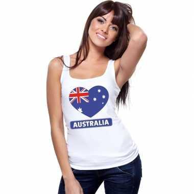 Australie hart vlag singlet shirt/ t shirt zonder mouw wit dames