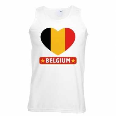 Belgie hart vlag singlet shirt/ t shirt zonder mouw wit heren