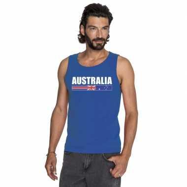 Blauw australie supporter singlet shirt/ t shirt zonder mouw heren