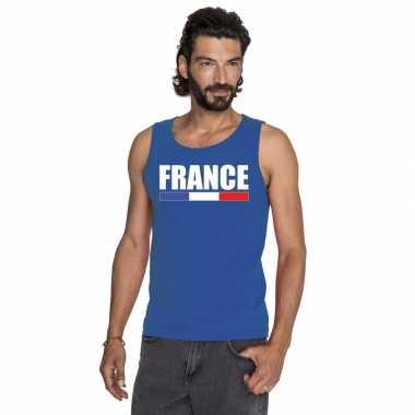 Blauw frankrijk supporter singlet shirt/ t shirt zonder mouw heren