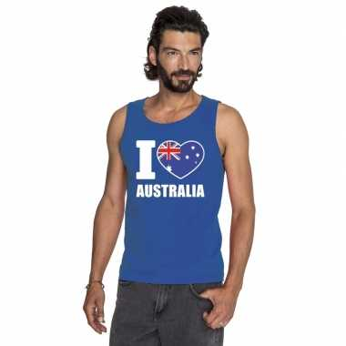 Blauw i love australie fan singlet shirt/ t shirt zonder mouw heren