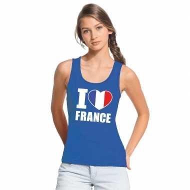 Blauw i love frankrijk fan singlet shirt/ t shirt zonder mouw dames