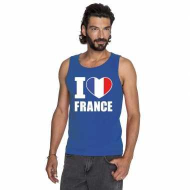 Blauw i love frankrijk fan singlet shirt/ t shirt zonder mouw heren