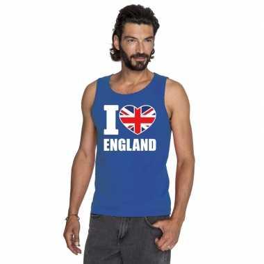 Blauw i love groot brittannie fan singlet shirt/ t shirt zonder mouw