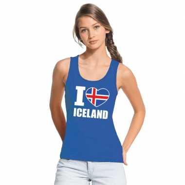 Blauw i love ijsland fan singlet shirt/ t shirt zonder mouw dames