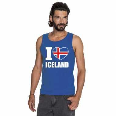 Blauw i love ijsland fan singlet shirt/ t shirt zonder mouw heren