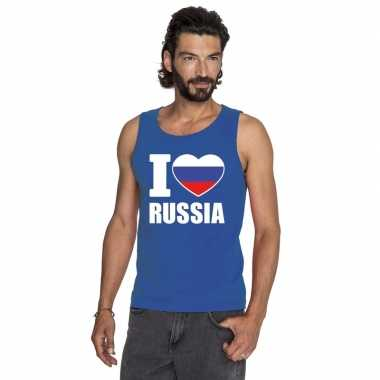 Blauw i love rusland fan singlet shirt/ t shirt zonder mouw heren