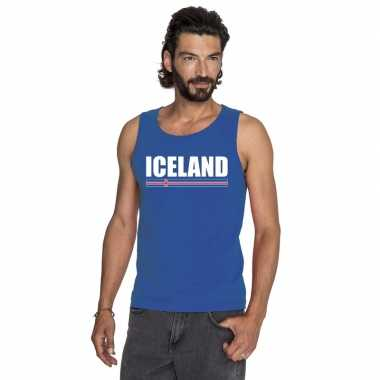 Blauw ijsland supporter singlet shirt/ t shirt zonder mouw heren