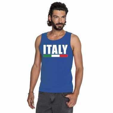Blauw italie supporter singlet shirt/ t shirt zonder mouw heren