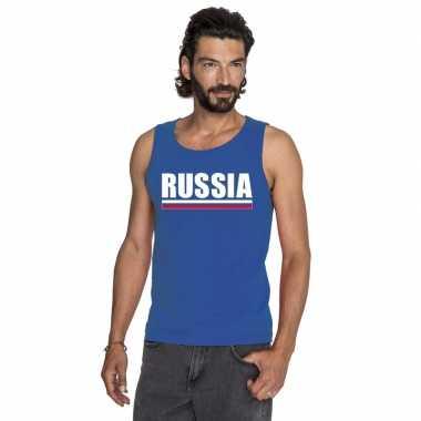 Blauw rusland supporter singlet shirt/ t shirt zonder mouw heren