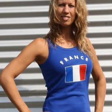 Blauwe dames t-shirt zonder mouw Frankrijk