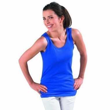 Blauwe dames t-shirt zonder mouw
