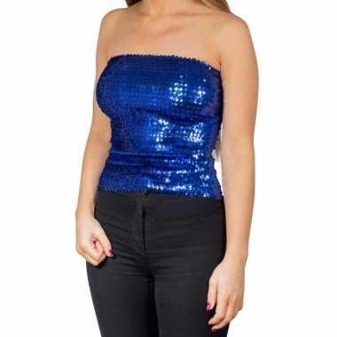 Blauwe glitter pailletten disco strapless topje/ shirt dames zonder m