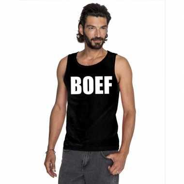 Boef tekst singlet shirt/ t shirt zonder mouw zwart heren