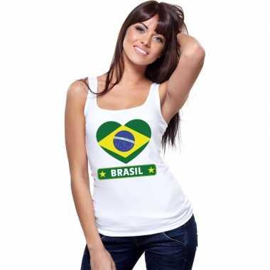 Brazilie hart vlag singlet shirt/ t shirt zonder mouw wit dames