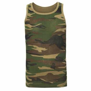 Camouflage t-shirt zonder mouw heren