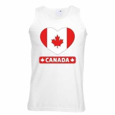 Canada hart vlag singlet shirt/ t shirt zonder mouw wit heren