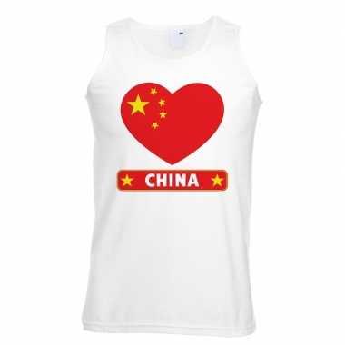 China hart vlag singlet shirt/ t shirt zonder mouw wit heren