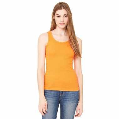 Dames rib t shirt zonder mouw oranje