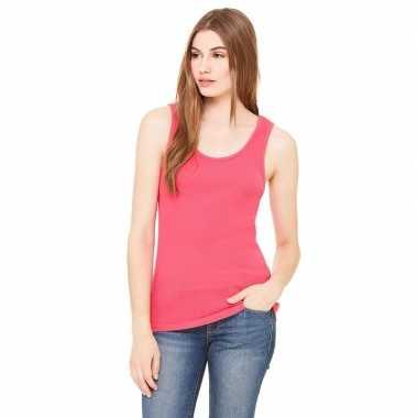 Dames rib t shirt zonder mouw roze