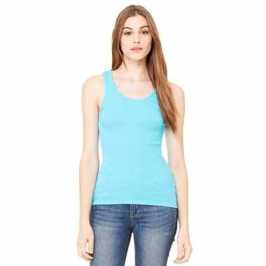 Dames rib t shirt zonder mouw turquoise