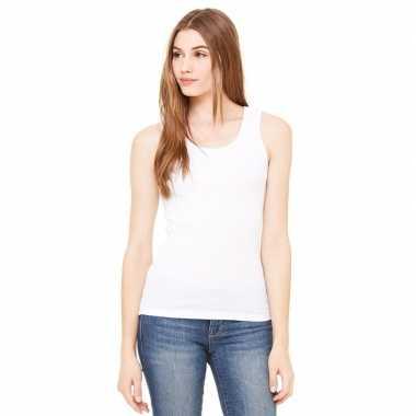 Dames rib t shirt zonder mouw wit