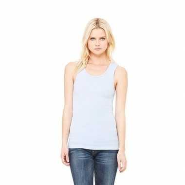 Dames t shirt zonder mouw lichtblauw