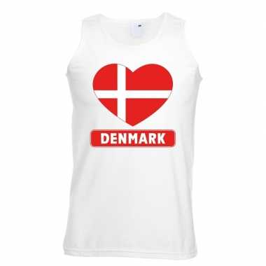 Denemarken hart vlag singlet shirt/ t shirt zonder mouw wit heren