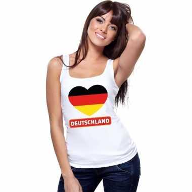 Duitsland hart vlag singlet shirt/ t shirt zonder mouw wit dames