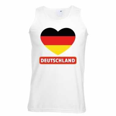 Duitsland hart vlag singlet shirt/ t shirt zonder mouw wit heren