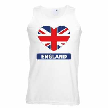 Engeland hart vlag singlet shirt/ t shirt zonder mouw wit heren