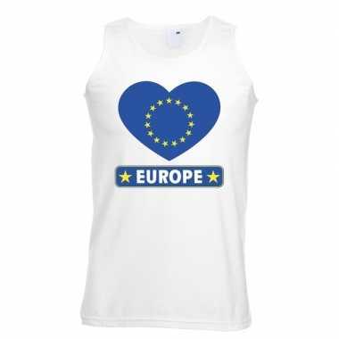 Europa hart vlag singlet shirt/ t shirt zonder mouw wit heren
