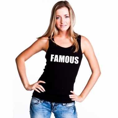 Famous tekst singlet shirt/ t shirt zonder mouw zwart dames