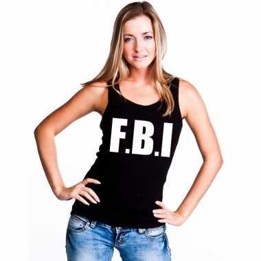 Fbi tekst singlet shirt/ t shirt zonder mouw zwart dames