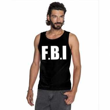 Fbi tekst singlet shirt/ t shirt zonder mouw zwart heren