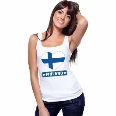 Finland hart vlag singlet shirt/ t shirt zonder mouw wit dames
