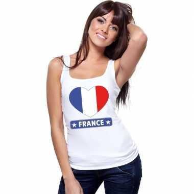 Frankrijk hart vlag singlet shirt/ t shirt zonder mouw wit dames