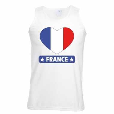 Frankrijk hart vlag singlet shirt/ t shirt zonder mouw wit heren