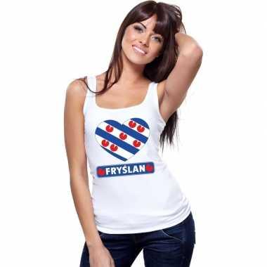Friesland hart vlag singlet shirt/ t shirt zonder mouw wit dames