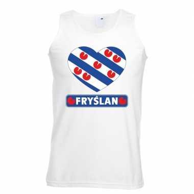 Friesland hart vlag singlet shirt/ t shirt zonder mouw wit heren