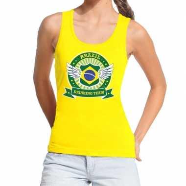Geel brazil drinking team t shirt zonder mouw / mouwloos shirt dames