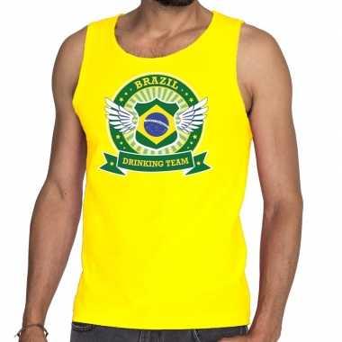 Geel brazil drinking team t shirt zonder mouw / mouwloos shirt heren