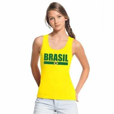 Geel brazilie supporter singlet shirt/ t shirt zonder mouw dames