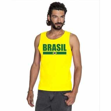 Geel brazilie supporter singlet shirt/ t shirt zonder mouw heren
