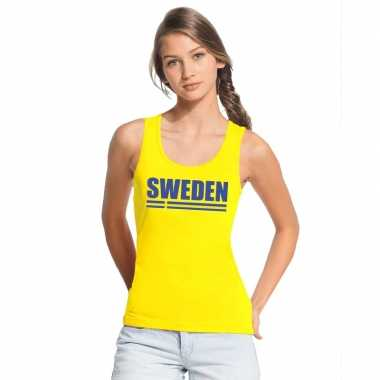 Geel zweden supporter singlet shirt/ t shirt zonder mouw dames