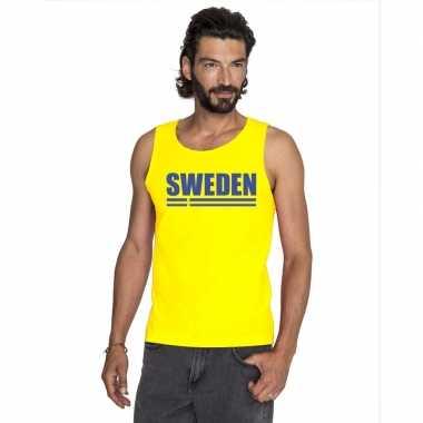 Geel zweden supporter singlet shirt/ t shirt zonder mouw heren