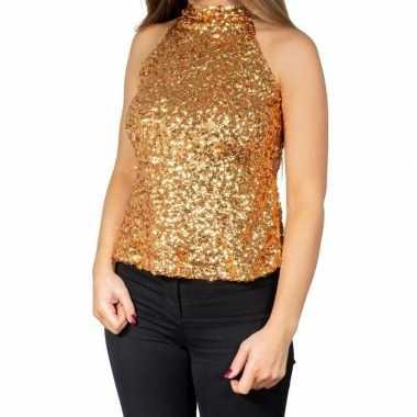 Gouden glitter pailletten disco halter topje/ shirt dames zonder mouw